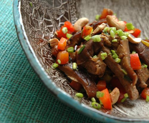 Wok agneau poivron shitake deux vue 1