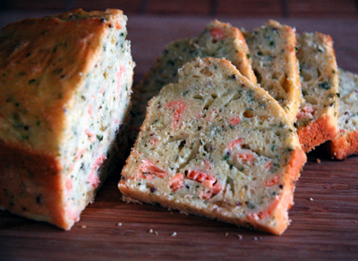Smoked salmon loaf cake with champagne