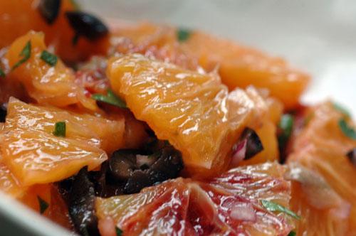 Salade orange anchois oignons vue 1