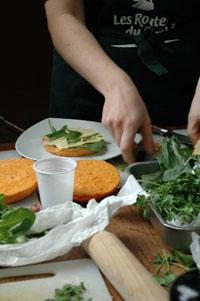 Cheese burger comte preparation vue 1