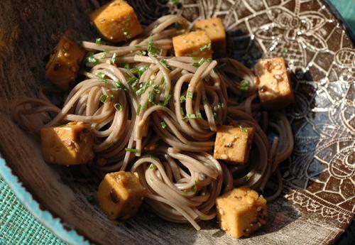 Nouilles soba tofu vue 1