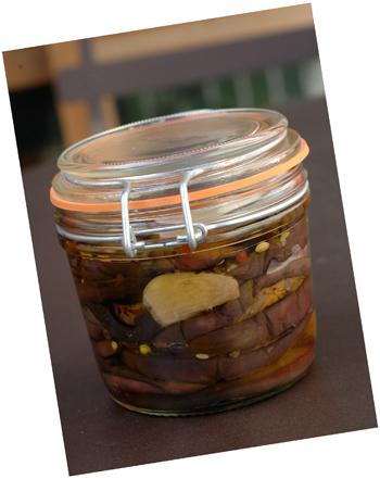 Bocal antipasti aubergines ferme decale vue 1