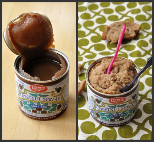 Cake cuite dans boite de creme de marrons vue 1