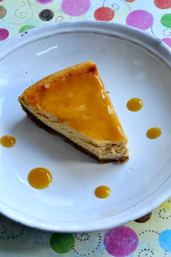 Cheesecake abricots coulis exotique vue 1