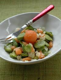 Salade feves melon poivre pecorino vue 1