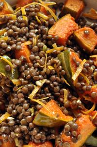 Salade de lentilles courge roties mimolette graines de courge vue 1
