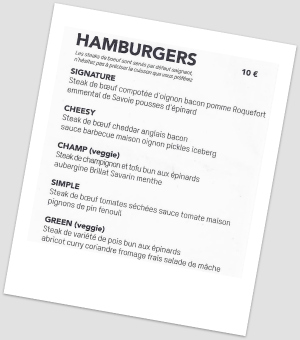 Menu blend hamburger diapo