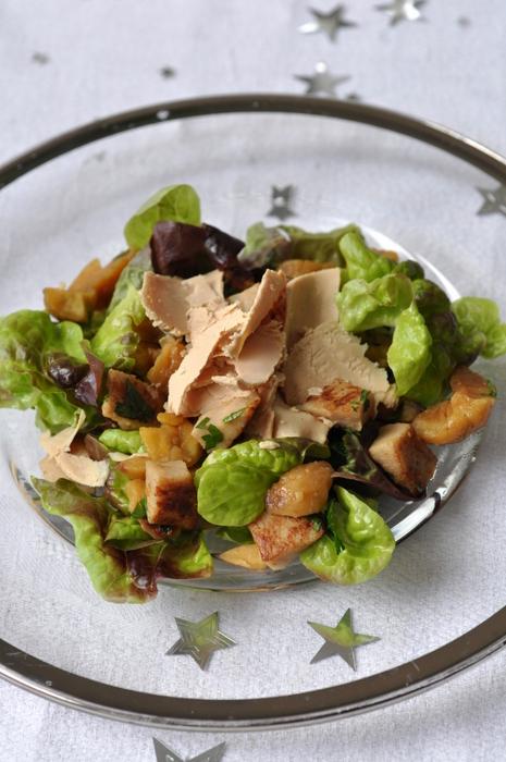 Salade boudin blanc chataignes copeaux foie gras