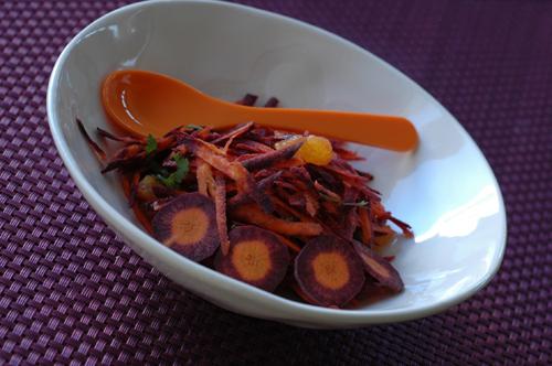 Salade de carottes violettes a l'orange vue 1