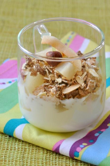 Dessert yaourt poires muesli