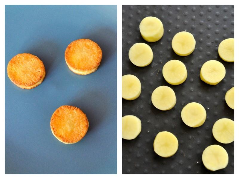 Toast pommes de terre avant et apres cuisson