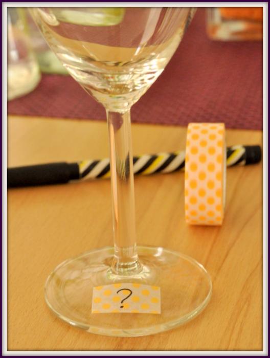 Marquer verre pour buffet avec masking tape