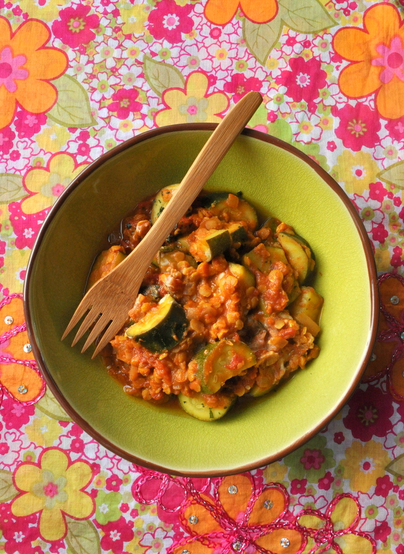 Curry courgettes lentilles corail