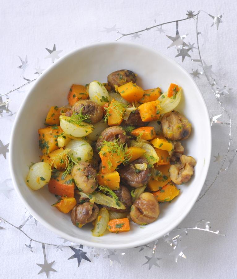Cocotte potimarron chataignes fenouil oignons