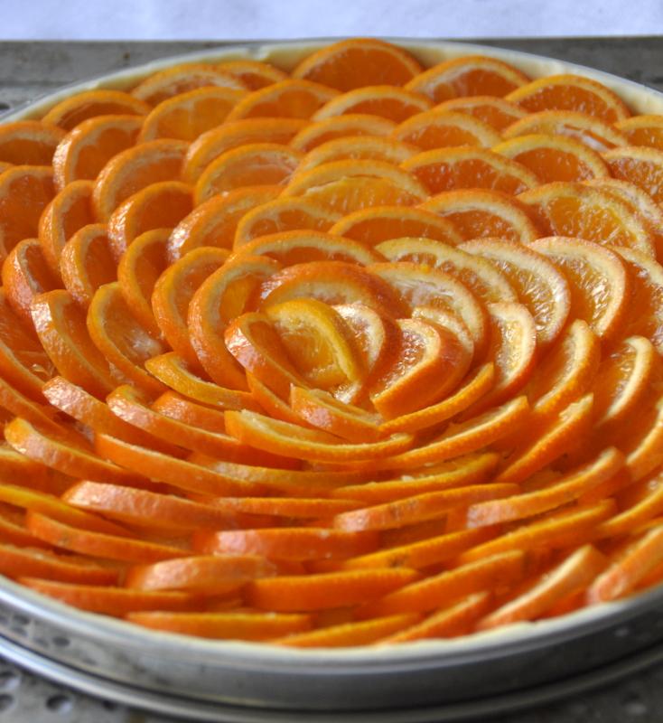 Tarte clementines avant cuisson