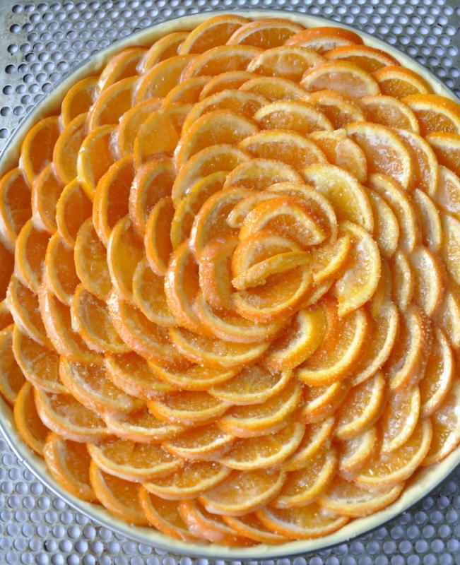 Tarte clementines avant cuisson deux