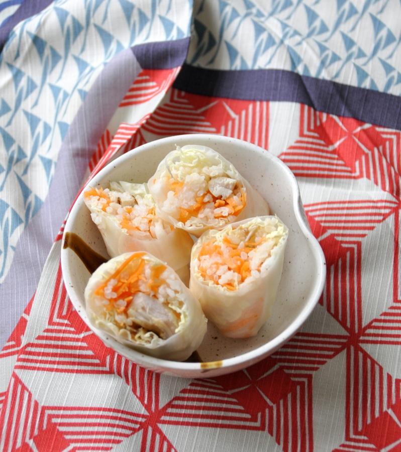 Rouleaux printemps riz poulet vue 1