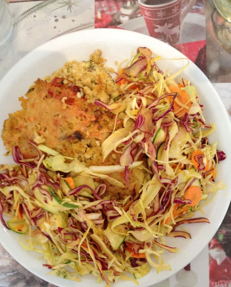 Epicreie verte gratin boulghour et legumes et salade