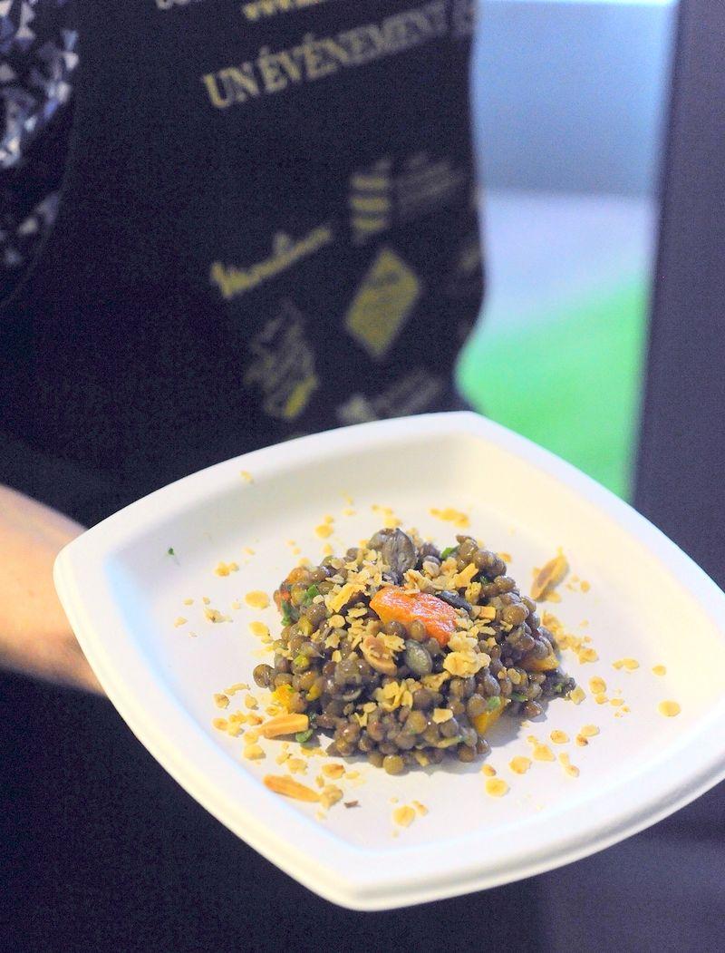 Salade de lentilles potimarron granola salé