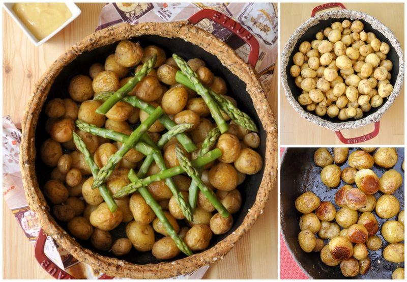 Cocotte de pommes de terre primeur aux asperges