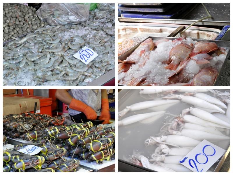 Poisson et crustaces marche bangkok