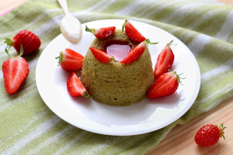 Moelleux vapeur matche fraises