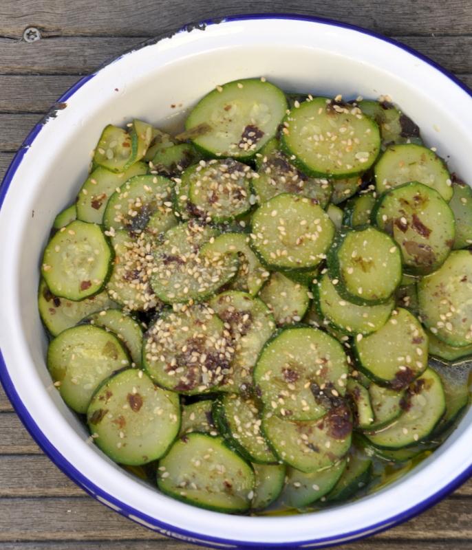 c 39 est moi qui l 39 ai fait salade de courgettes aux algues et aux graines de s same la recette. Black Bedroom Furniture Sets. Home Design Ideas
