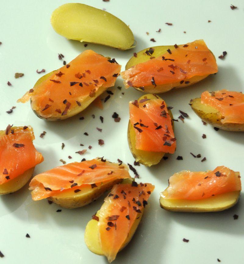 Pommes de terre confites truite fumee