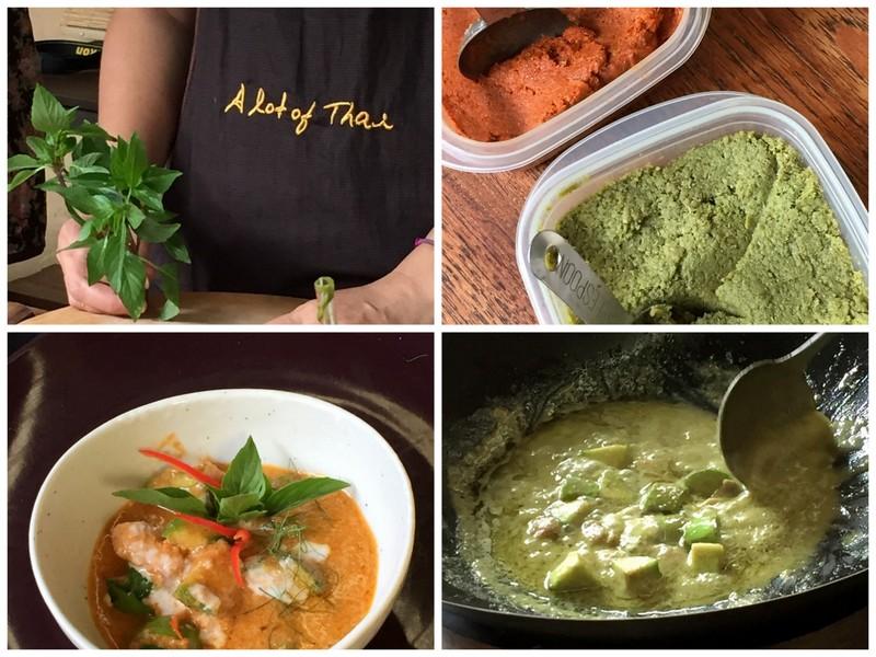Preparation du curry vert et rouge au poulet