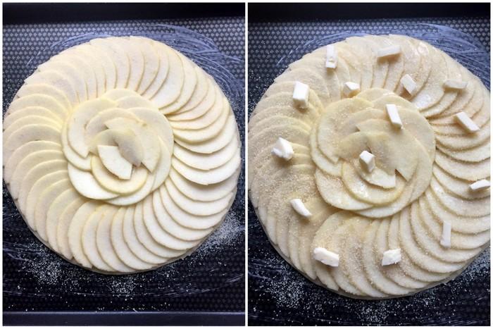 Tarte fine aux pommes beurre et sucre avant cuisson