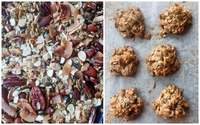Granola cluster cookies avant et après cuisson