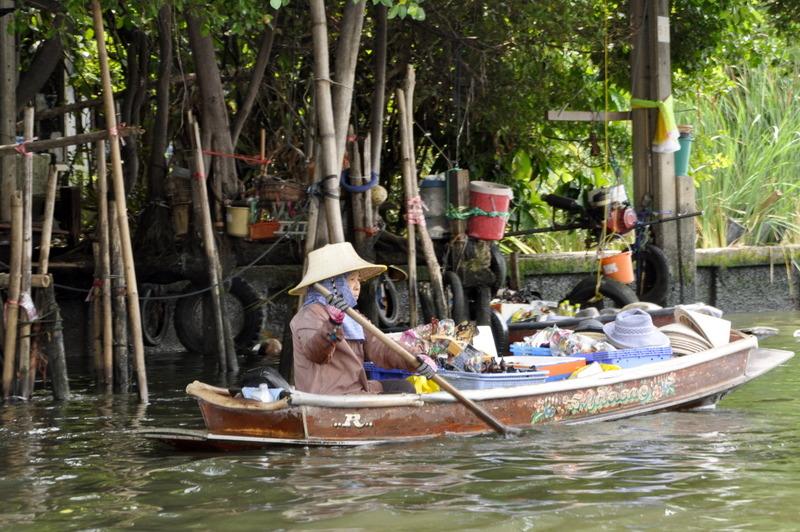 Bangkok canal long train boat