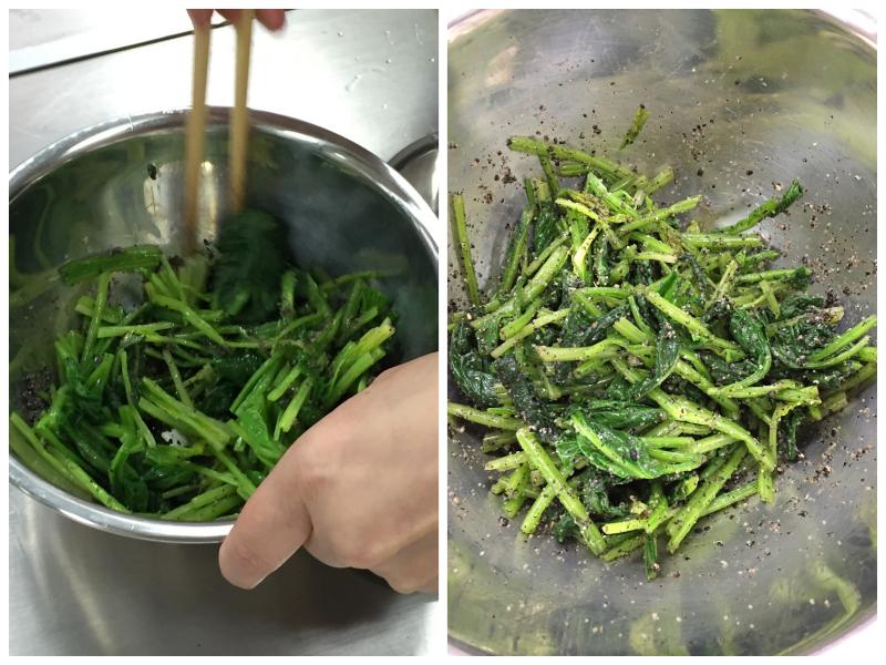 Salade d'épinard aau sésame noir et sauce soja cuisine japonaise