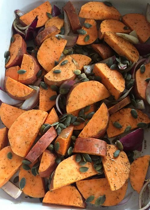 Patates douces roties zaatar