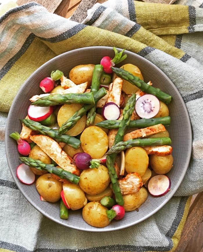 Salade de pommes de terre poulet asperges