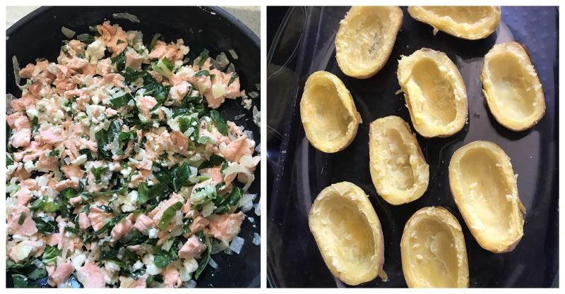 Pommes de terre farcies saumon feta