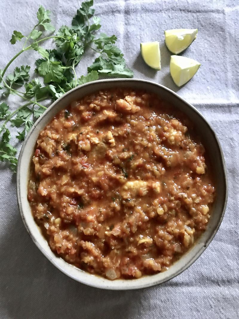 Curry de poulet lentilles corail dhansak