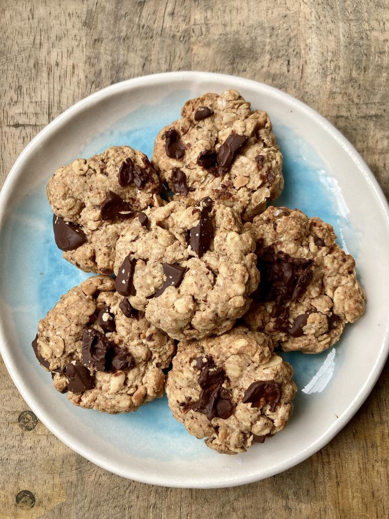 Cookies flocons avoine tahine chocolat beurre cacahuette