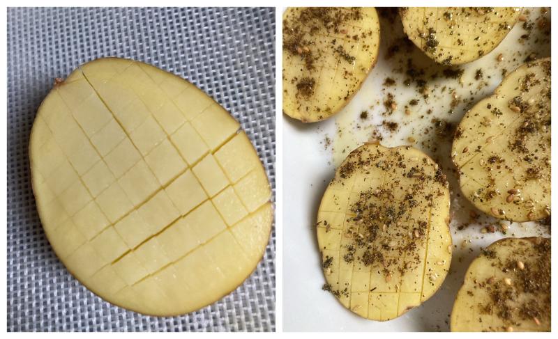 Pommes de terre quadrillees avant cuisson